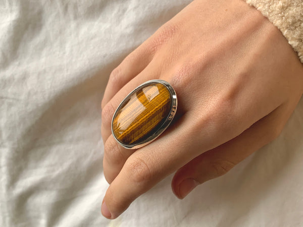 Tiger's Eye Naevia Ring - XLarge Oval (US 7.5 & 8) - Jewels & Gems