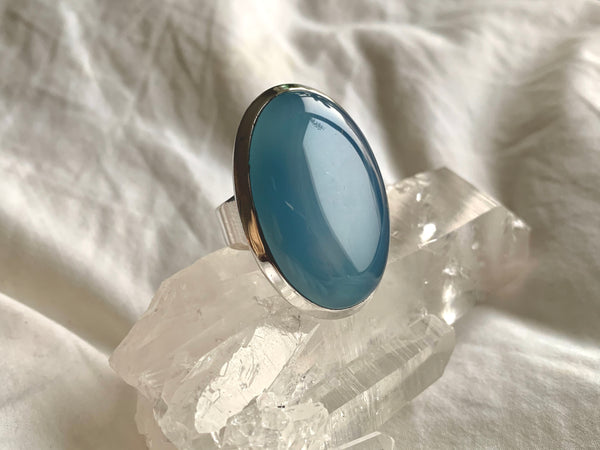 Blue Chalcedony Naevia Ring - XLarge Oval (US 8) - Jewels & Gems