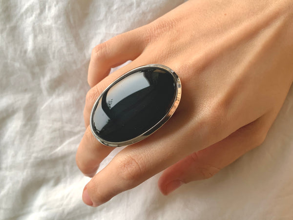 Black Onyx Naevia Ring - XLarge Oval - Jewels & Gems