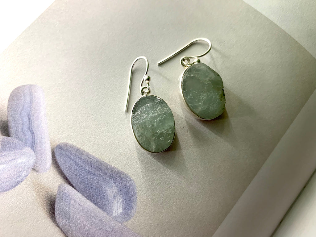 Raw Aquamarine Akoni Earrings - Medium Oval - Jewels & Gems