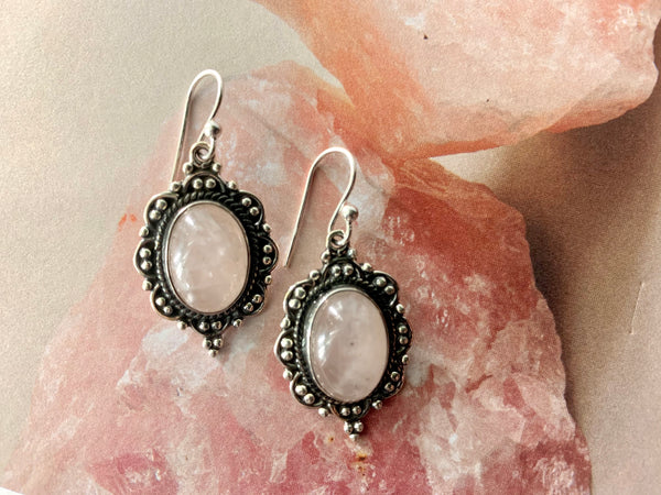 Rose Quartz Nissa Earrings - Jewels & Gems