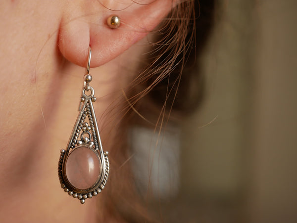 Rose Quartz Terra Earrings - Jewels & Gems