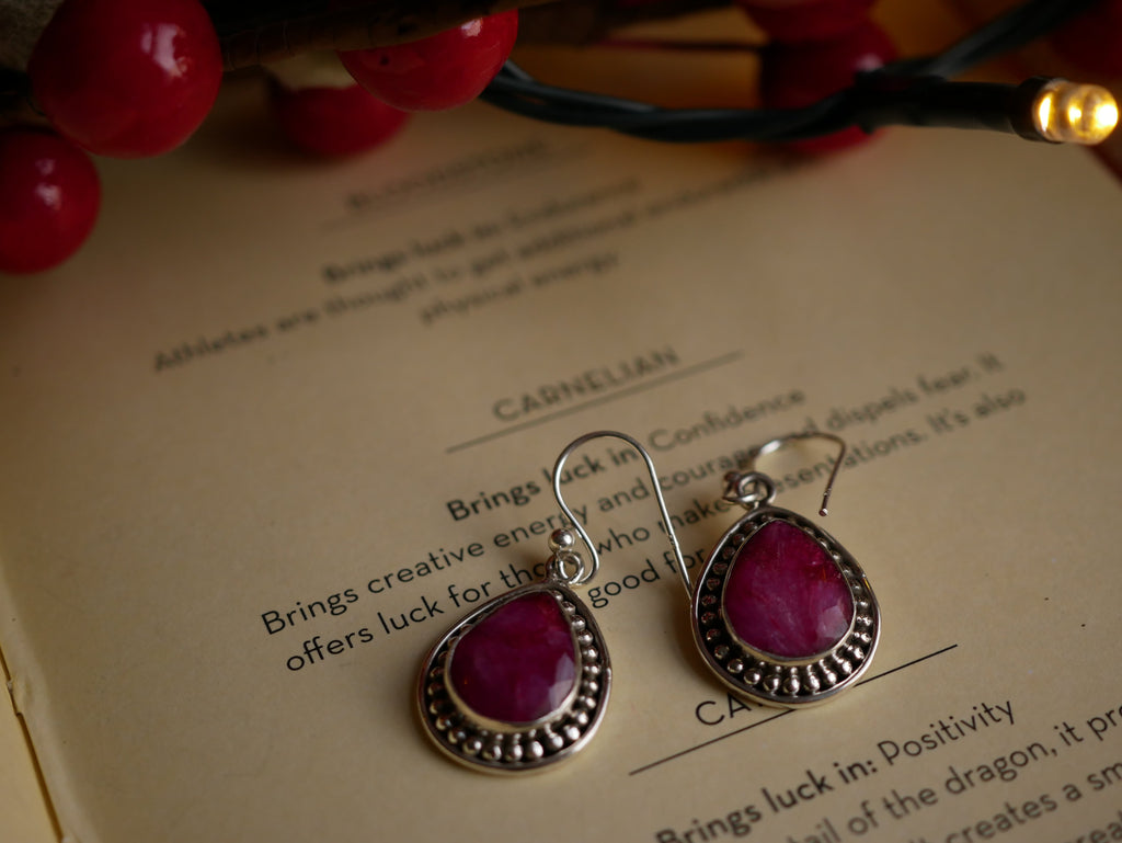 Semi-precious Ruby Earrings - Jewels & Gems