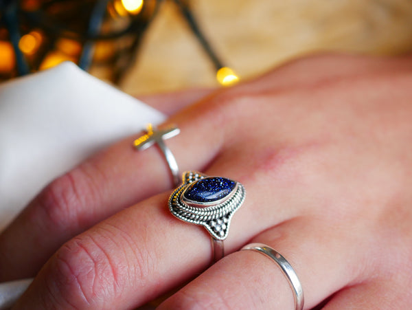 sterling silver midnight goldstone ring