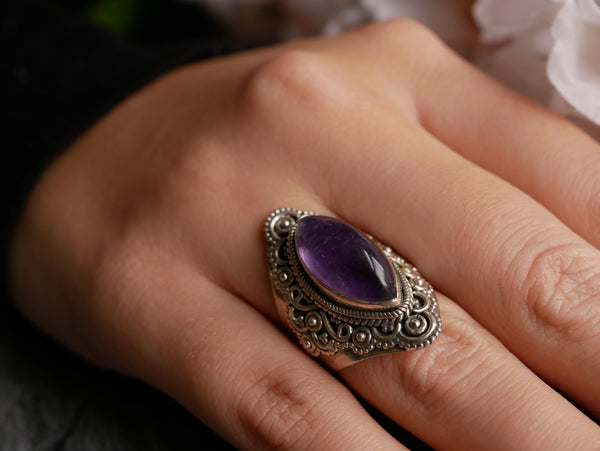 Amethyst is a stone of stress relief and positive energy. All our jewellery are made of sterling 925 Silver, handmade and hand-picked one by one.
