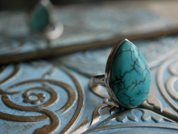 Turquoise Akoni Ring - Large Drop (US 6.5) - Jewels & Gems