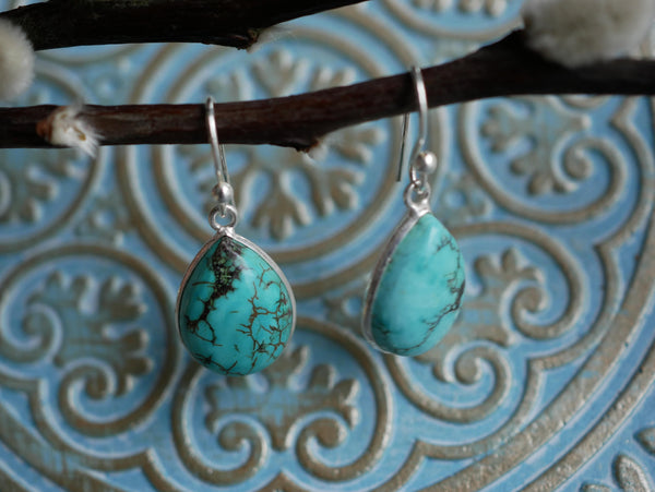 Turquoise Akoni Earrings - Teardrop - Jewels & Gems