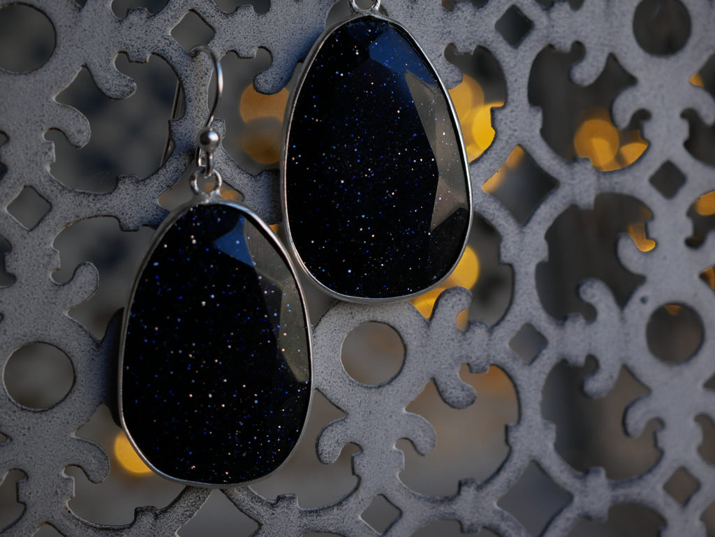 Midnight Goldstone Adora Earrings - Jewels & Gems