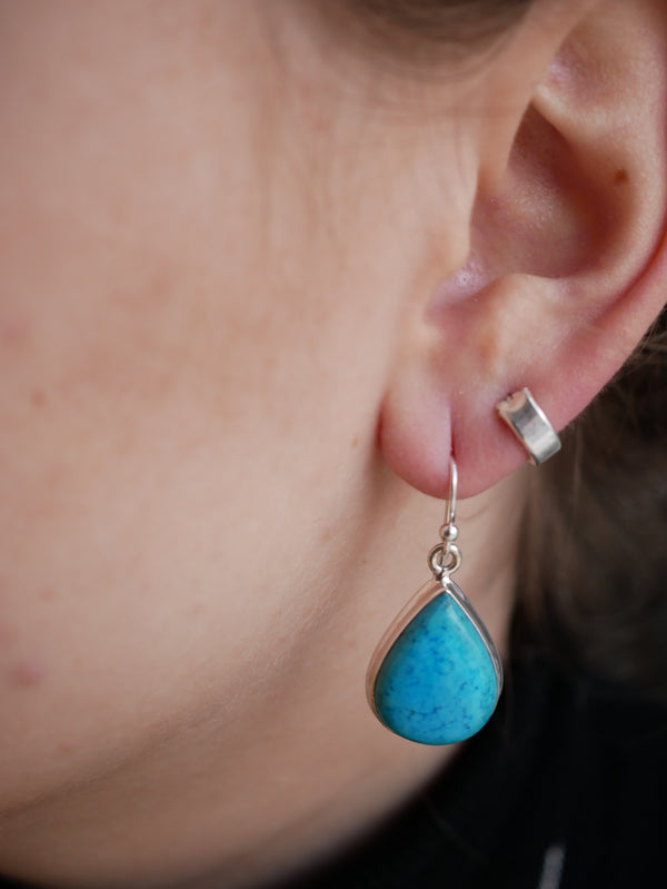 Deep Blue Turquoise Ako Earring - Jewels & Gems