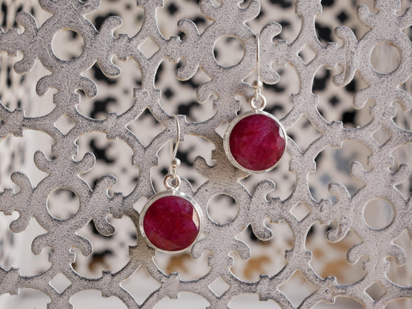 Semi-precious Ruby Ari Earrings Round/Oval - Jewels & Gems