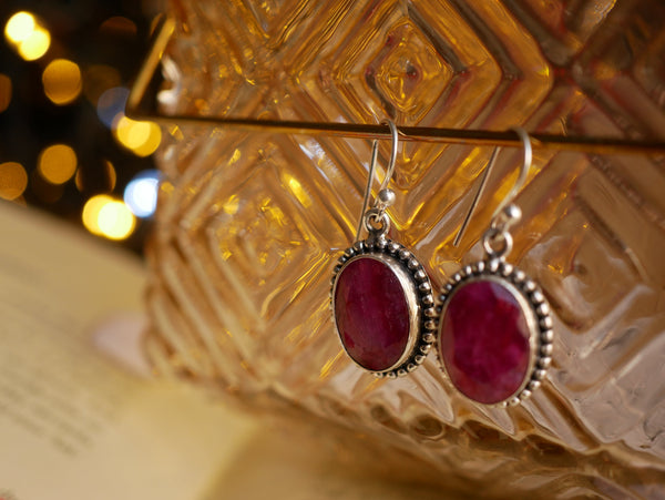 Semi-precious Ruby Gala Earrings - Jewels & Gems