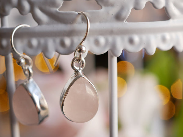 Rose Quartz Akoni Earrings - Teardrop - Jewels & Gems