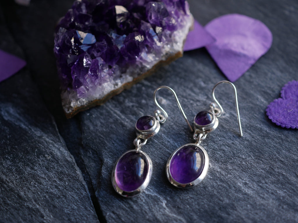 Amethyst Akoni Earrings - Double Drop - Jewels & Gems
