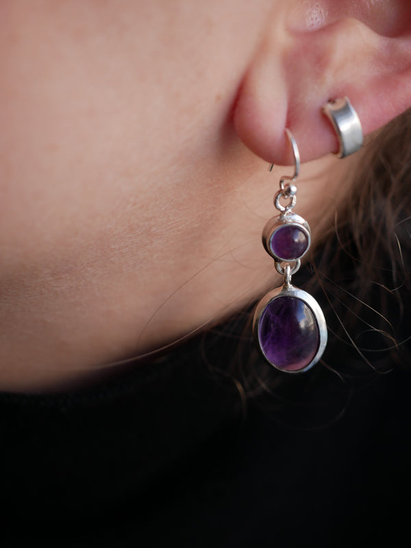 Amethyst Akoni Earring - Double Drop - Jewels & Gems
