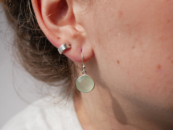Pastel Green Chalcedony Adora Earrings Round - Jewels & Gems