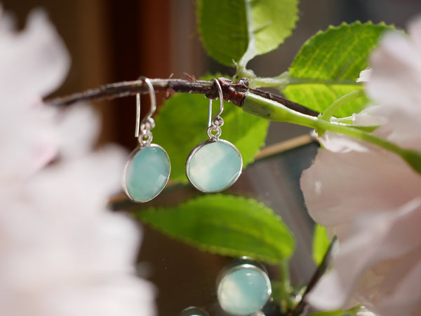 Light Blue Chalcedony Adora Earrings Round - Jewels & Gems