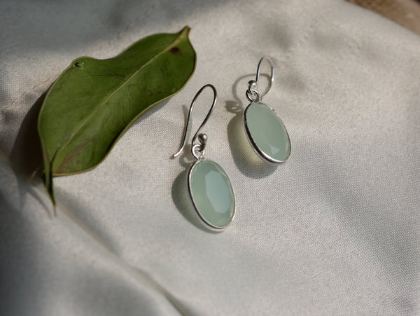 Pastel Green Chalcedony Adora Earrings Oval - Jewels & Gems