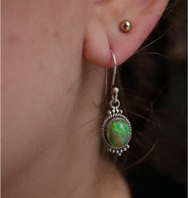 sterling silver opal earrings