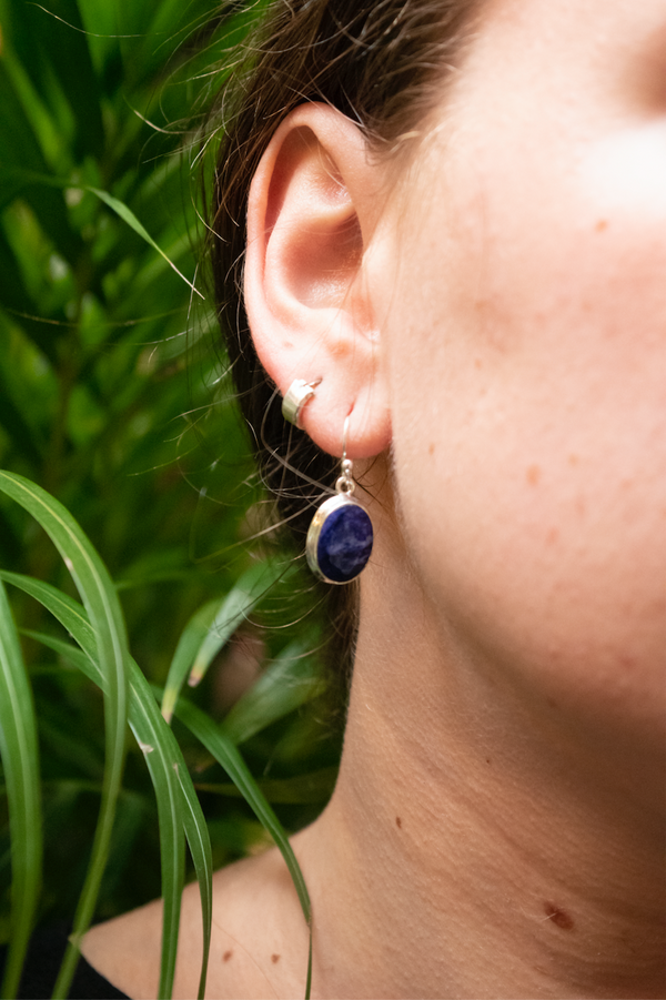 Semi-precious Sapphire Ari Earrings Oval - Jewels & Gems