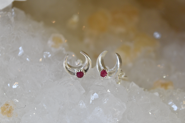 sterling silver ruby studs