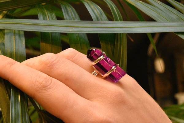 Purple Aura Quartz Saana Ring - Jewels & Gems