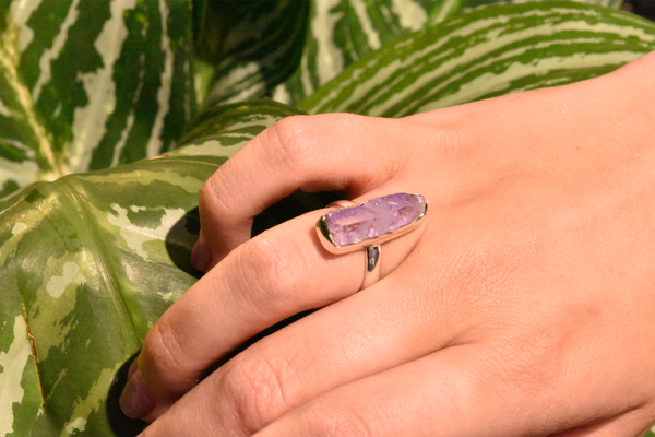 Lilac Aura Quartz Akoni Ring - Jewels & Gems
