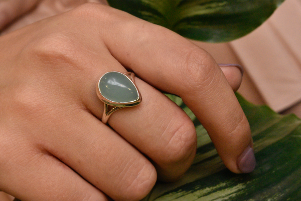 Green Chalcedony Ari Ring Double Band - Jewels & Gems