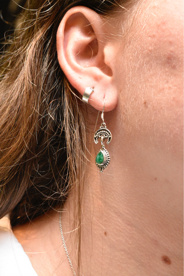 Semi-precious Emerald Luna Earrings