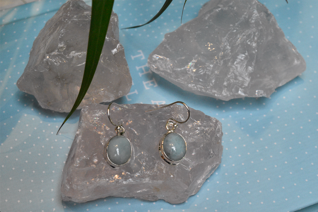 Larimar Ari Earrings Oval - Jewels & Gems