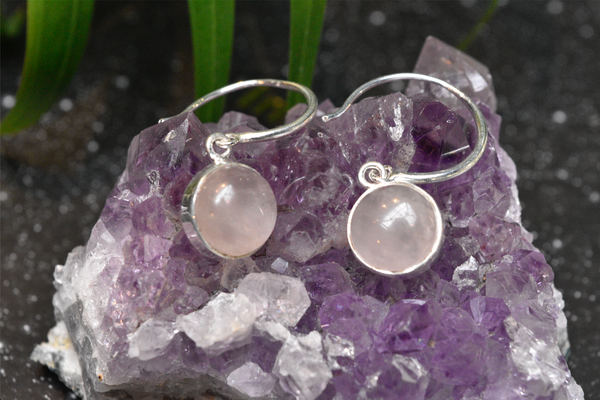 Rose Quartz Signe Earrings - Jewels & Gems