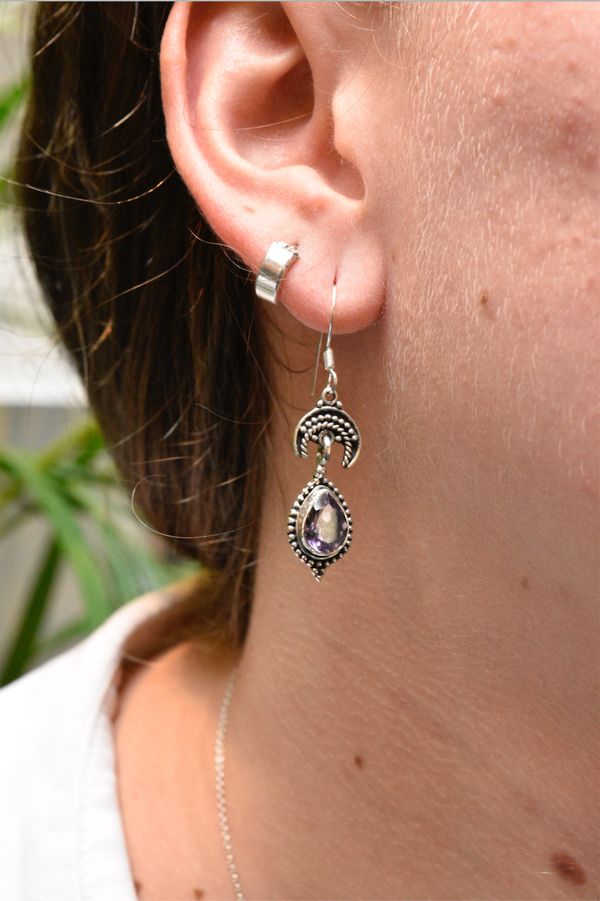 Amethyst Luna Earrings - Jewels & Gems