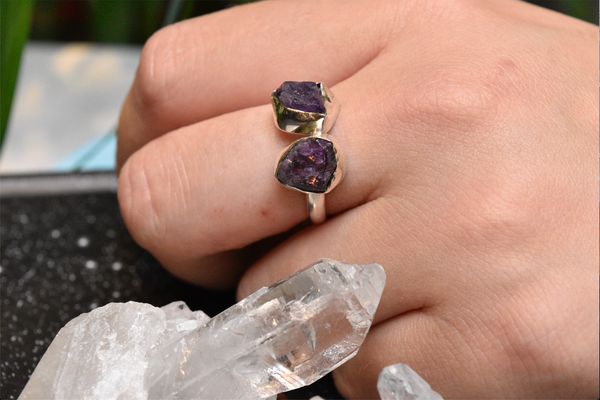Amethyst Reva Ring Adjustable - Jewels & Gems