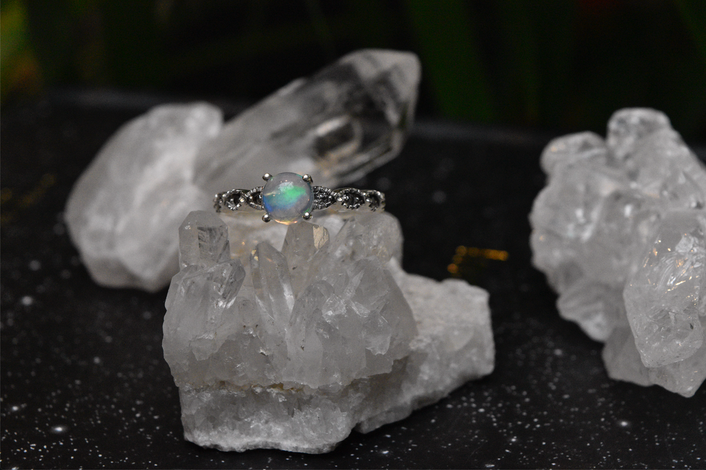 Ethiopian Opal and Zirconia Ella Ring - Jewels & Gems