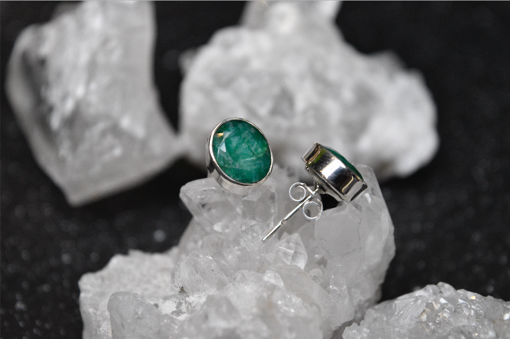 Semi-precious Emerald Akoni Studs - Jewels & Gems