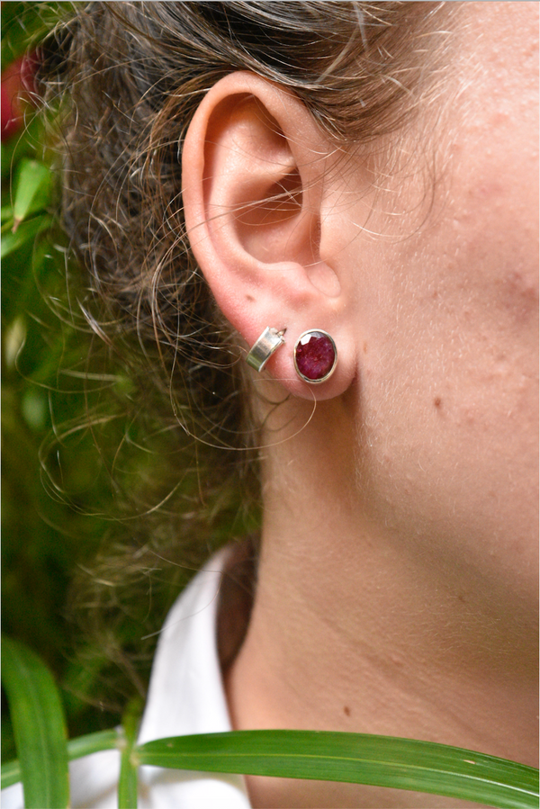Semi-precious Ruby Akoni Studs - Jewels & Gems