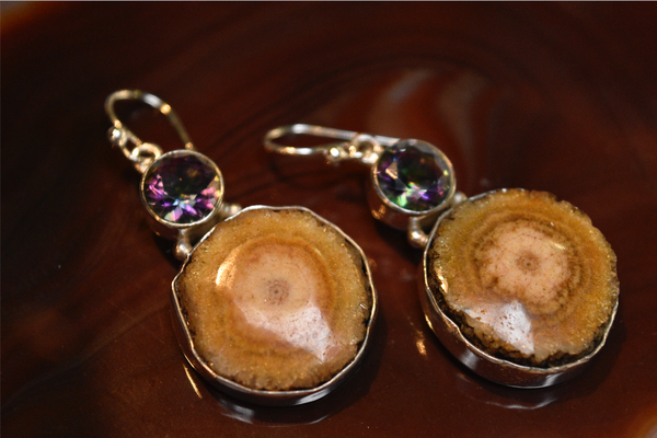 mystic topaz and druzy earrings