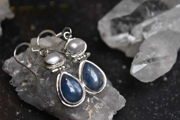 sterling silver pearl and kyanite earrings