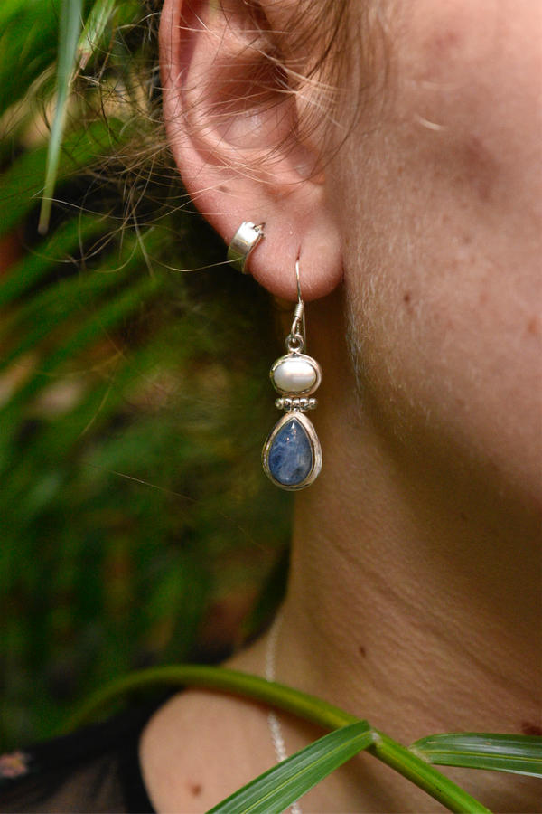 Pearl + Kyanite Ilkay Earrings - Jewels & Gems