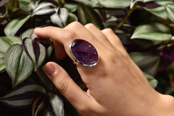 sterling silver tropiche amethyst ring
