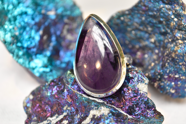 sterling silver trapiche amethyst ring