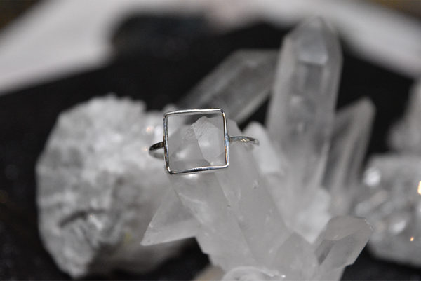 sterling silver minimal square ring