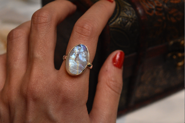 sterling silver minimal raw moonstone ring