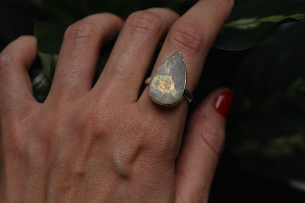 sterling silver raw moonstone ring