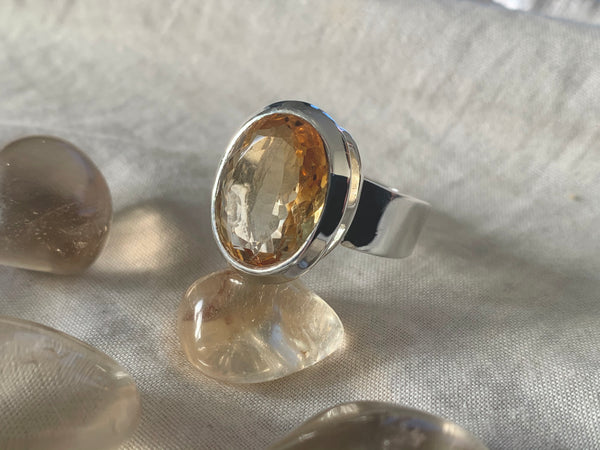Citrine Bethan Ring - Reg. Oval (US 8.5) - Jewels & Gems