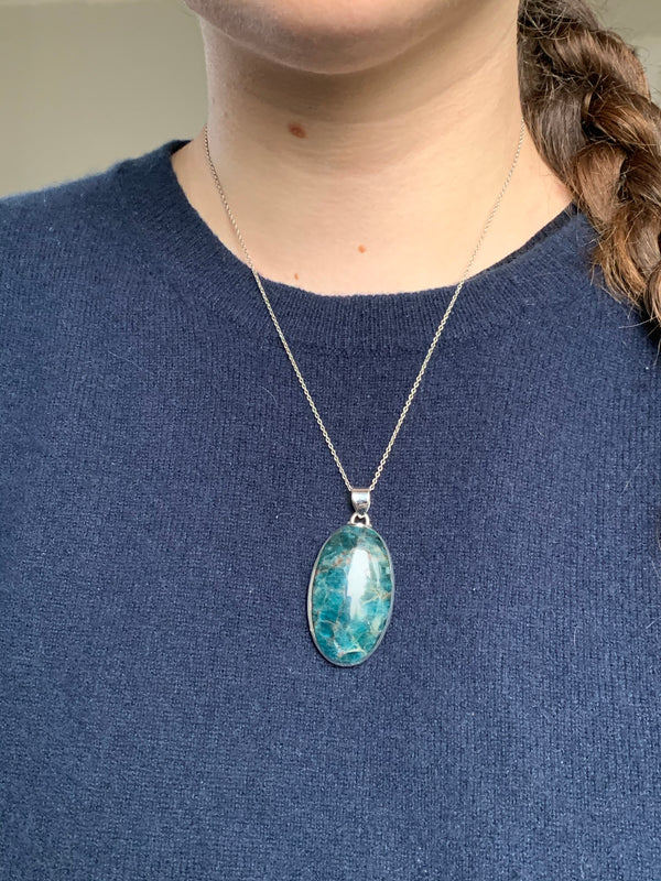 Blue Apatite Naevia Pendant - Large Oval - Jewels & Gems