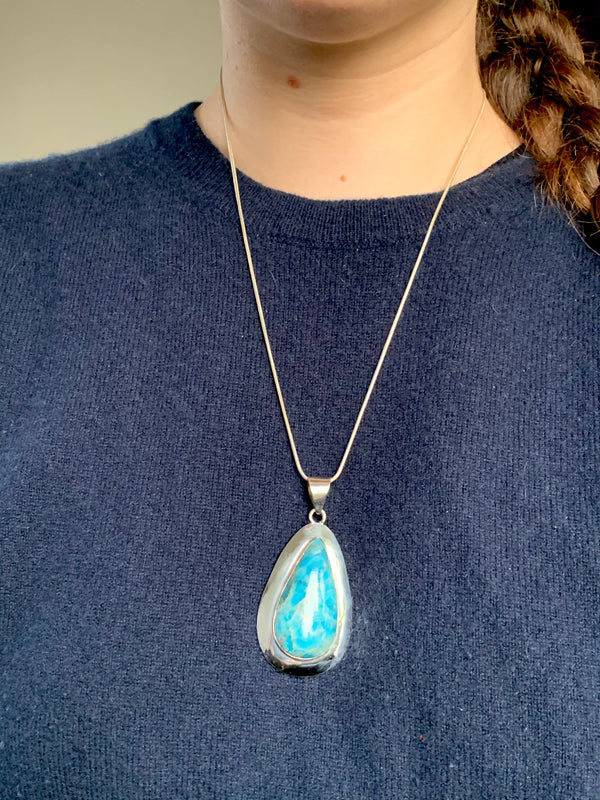 Blue Apatite Medea Pendant - Long Teardrop - Jewels & Gems