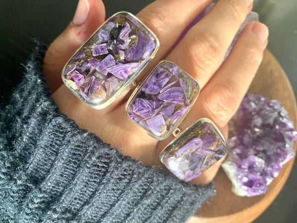 Copper Charoite Akoni Rings - Large Square (US 8) - Jewels & Gems