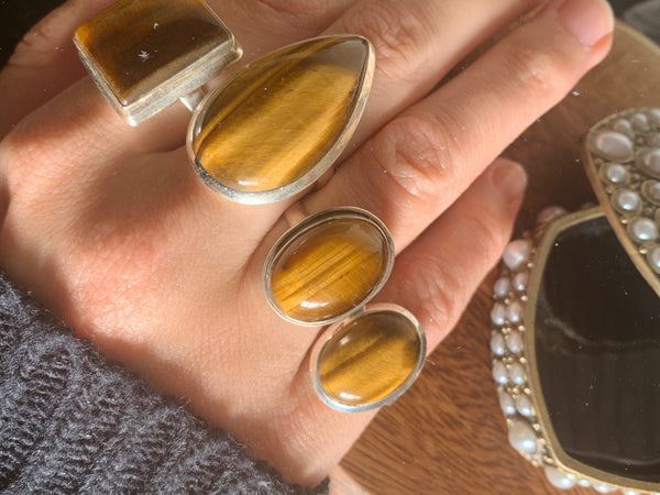 Tiger's Eye Rings Mix - Large Plain - Jewels & Gems