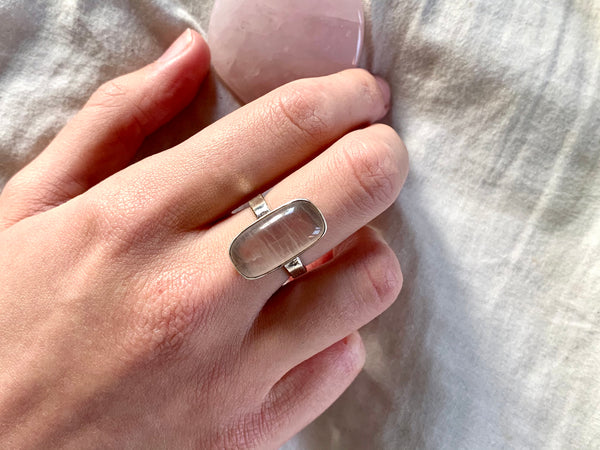 Rose Quartz Akoni Ring - Skinny Rectangle - Jewels & Gems