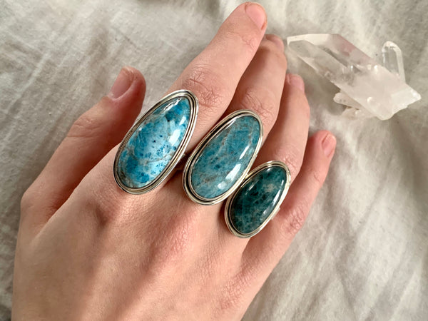 Blue Apatite Brea Rings - Long Freeform - Jewels & Gems
